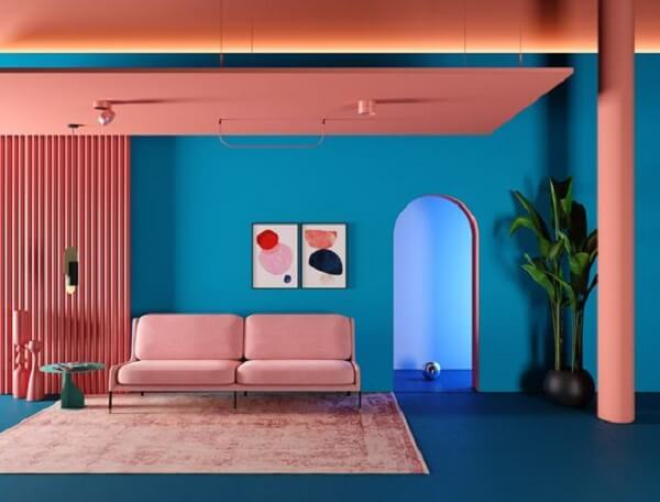 Phối màu xanh dương cổ điển cho phòng khách