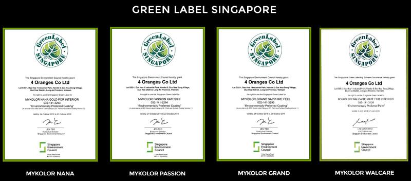 Mykolor đặt chứng nhận Green Label Singapore