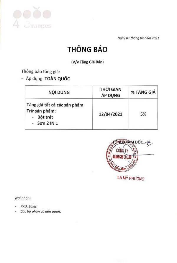 Sơn Mykolor tăng giá từ ngày 12-04-2021