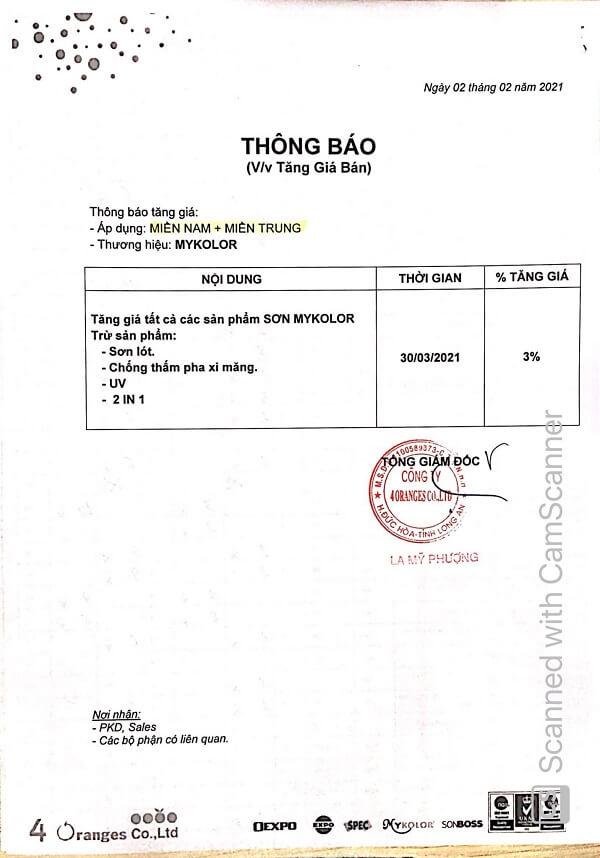 Mykolor tăng giá từ ngày 30-03-2021